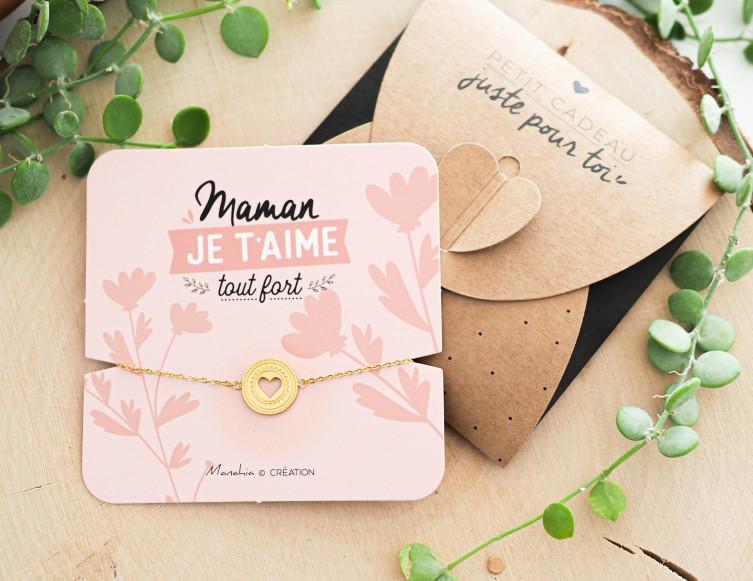 Bracelet Maman je t'aime tout fort (coeur) 1