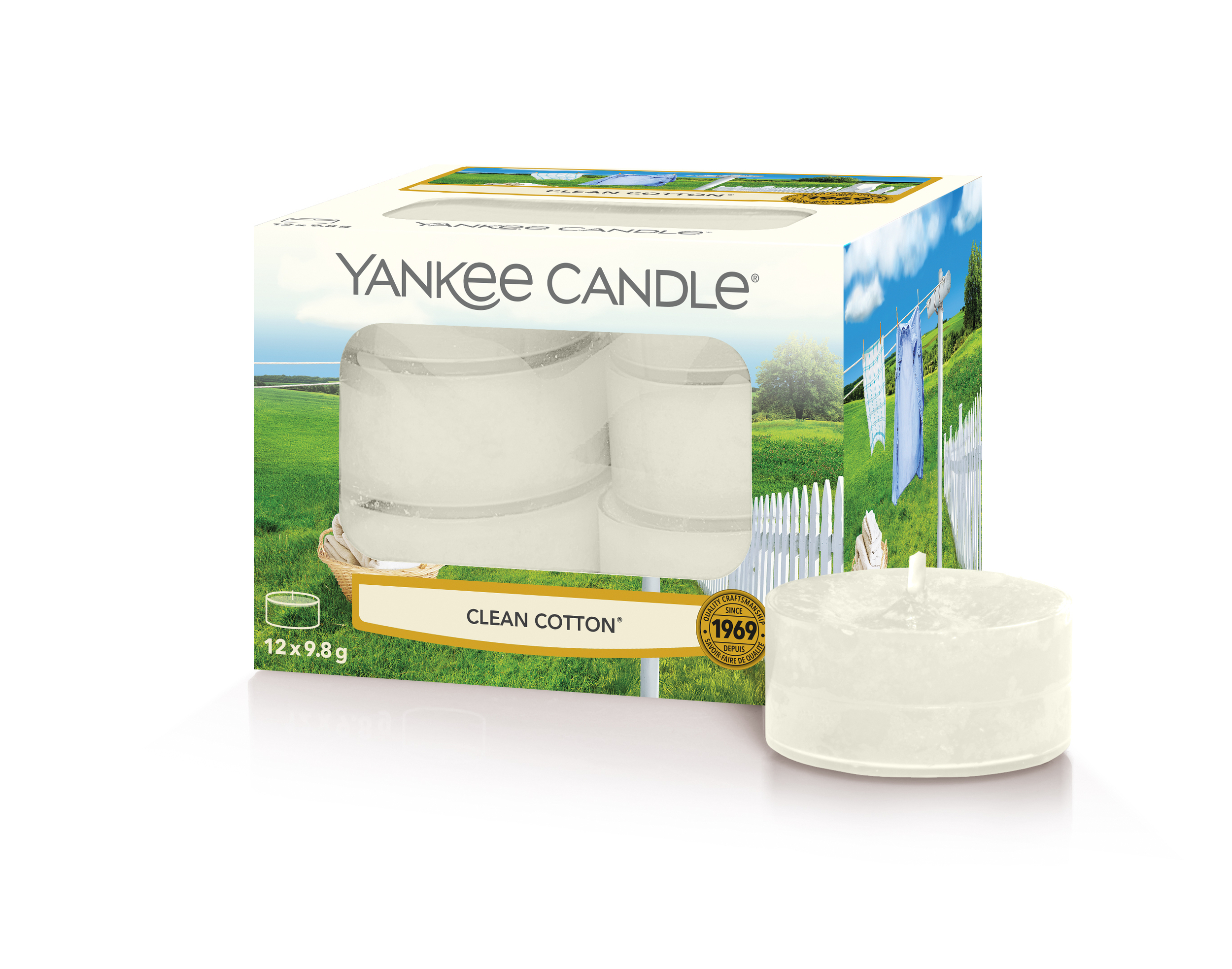 Bougies Clean Cotton (boîte de 12 lumignons-chauffe-plats) - Yankee Candle