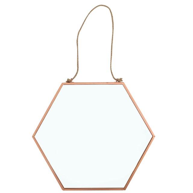 Miroir géométrique hexagonal doré