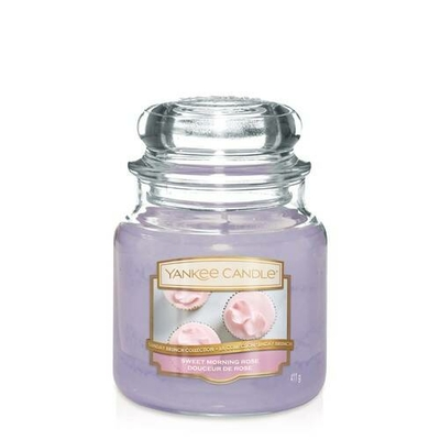 Bougie Sweet Morning Rose moyenne jarre - Yankee Candle
