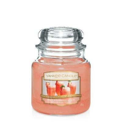 Bougie White Strawberry Bellini (Bellini À La Fraise) moyenne jarre - Yankee Candle