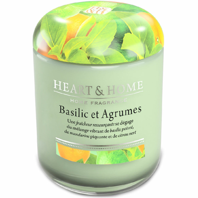 Bougie parfumée Basilic & Agrumes 115g - Heart & Home