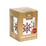 Coffret petites bougies et un photophore blanc motif flocons - WoodWick 1