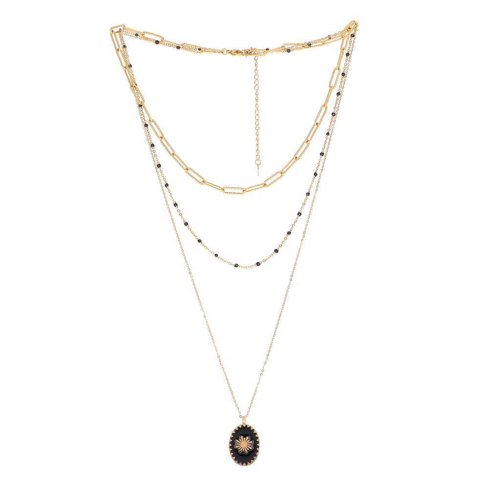 Collier doré trois rangs en maille avec pâte de verre et pendentif en émail