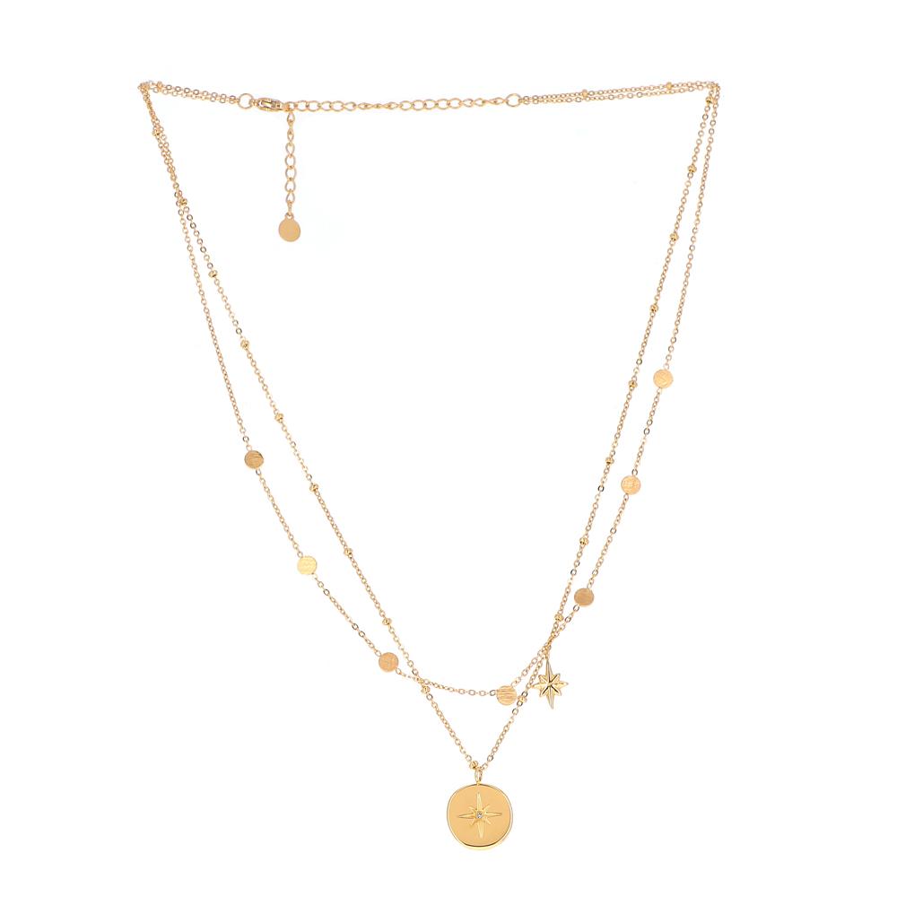 Collier doré deux rangs avec pendentif étoile du Nord