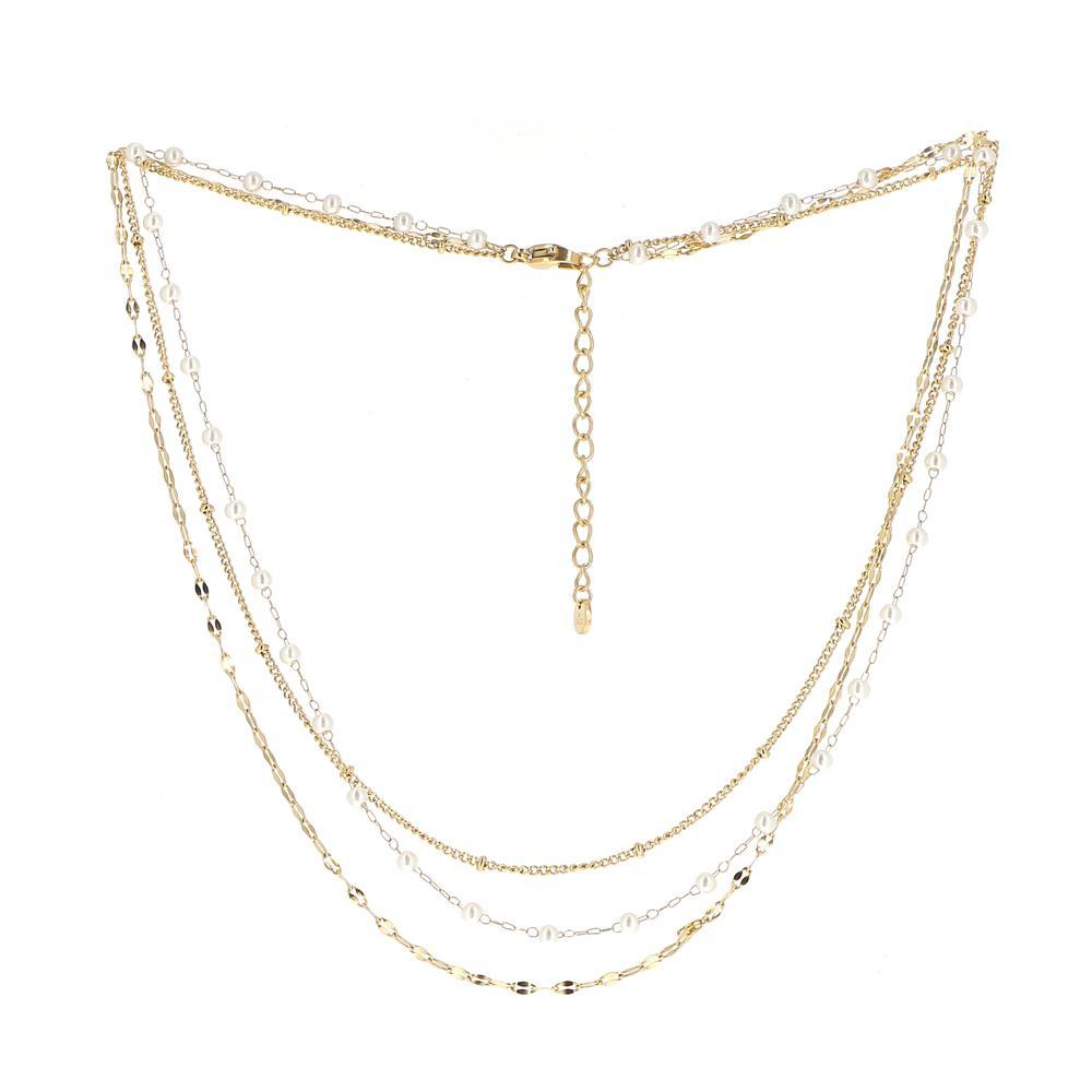 Collier doré triple rangs avec perles d\'eau douce