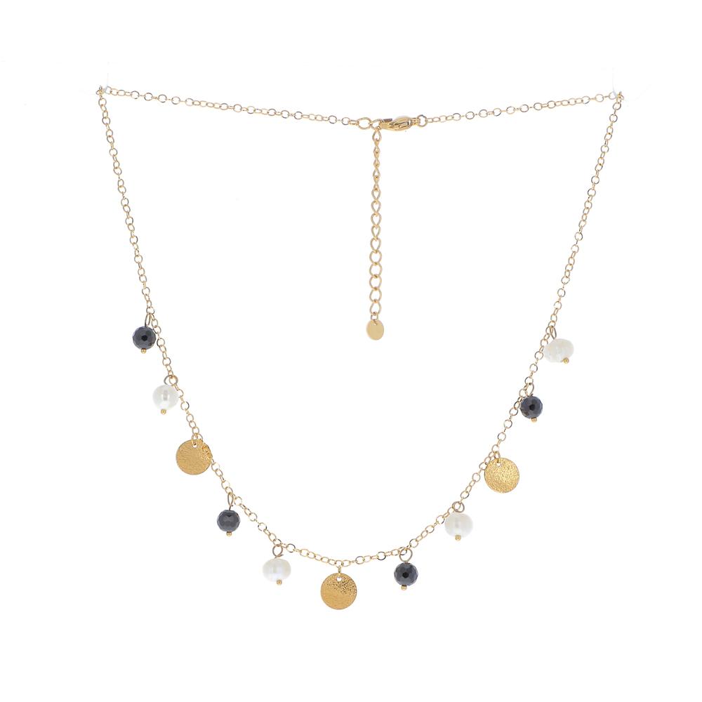 Collier doré avec pampilles, perles d\'eau douce et pierres naturelles noires