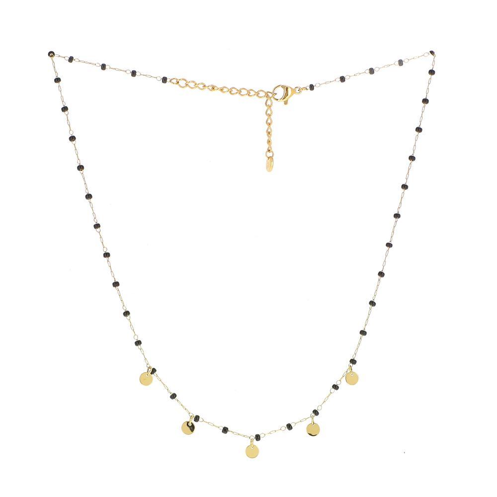 Collier perles et pampilles Doré noir