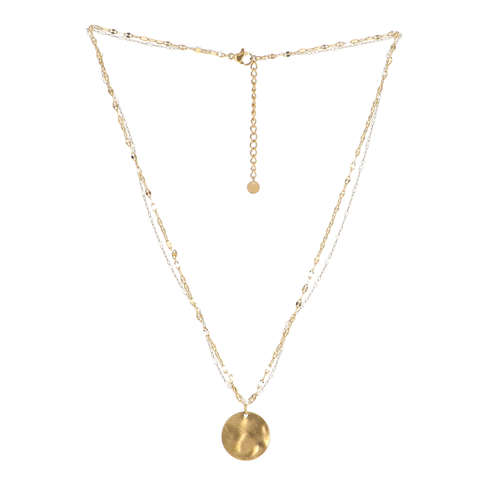 Collier doré double chaîne,rocailles multicolores et pendentif effet brossé