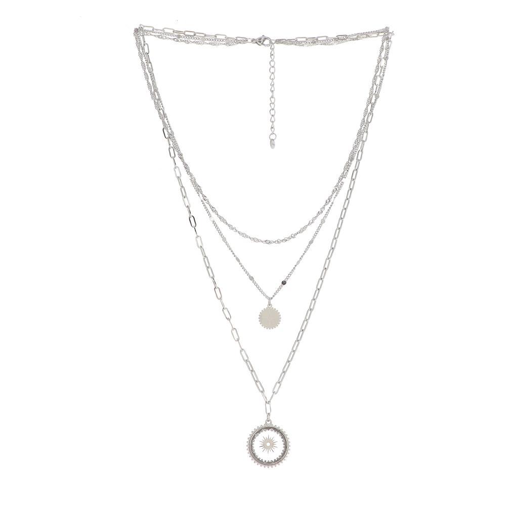 Collier rhodium triple rangs avec pendentif en verre orné d\'un soleil