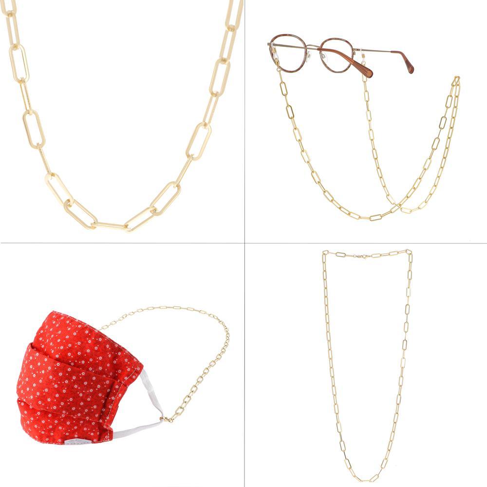 Chaîne de lunettes/Sautoir/Porte-Masque 3 en 1 dorés en maille