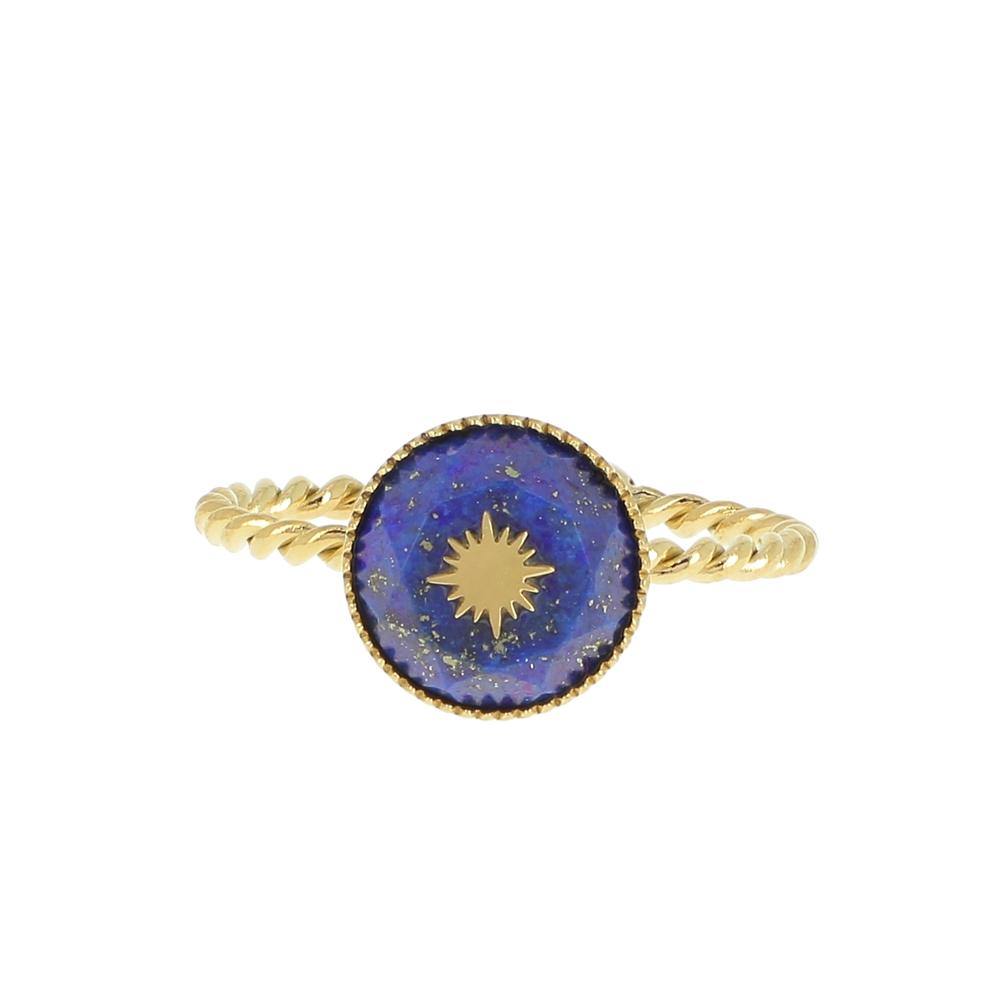 BAGUE REGLABLE AVEC PIERRE NATURELLE (lapis-lazuli) ET ÉTOILE