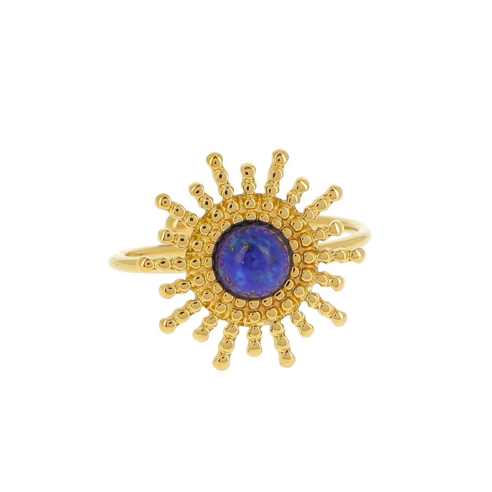 BAGUE DOREE EN FORME DE SOLEIL AVEC PIERRE NATURELLE (Lapis-Lazuli)