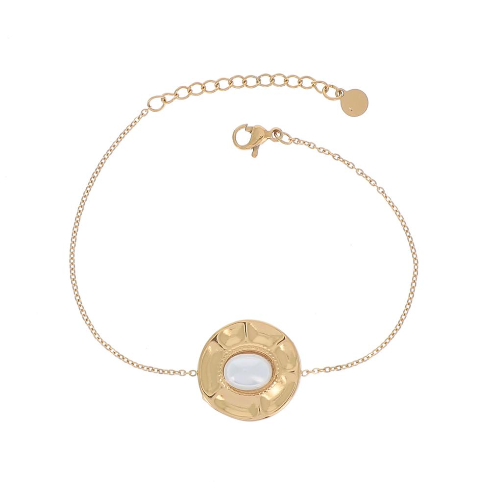 Bracelet doré avec rond et perle d\'eau douce