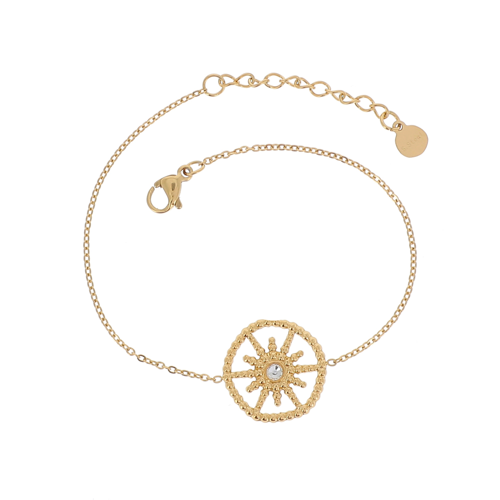 Bracelet doré avec soleil et strass