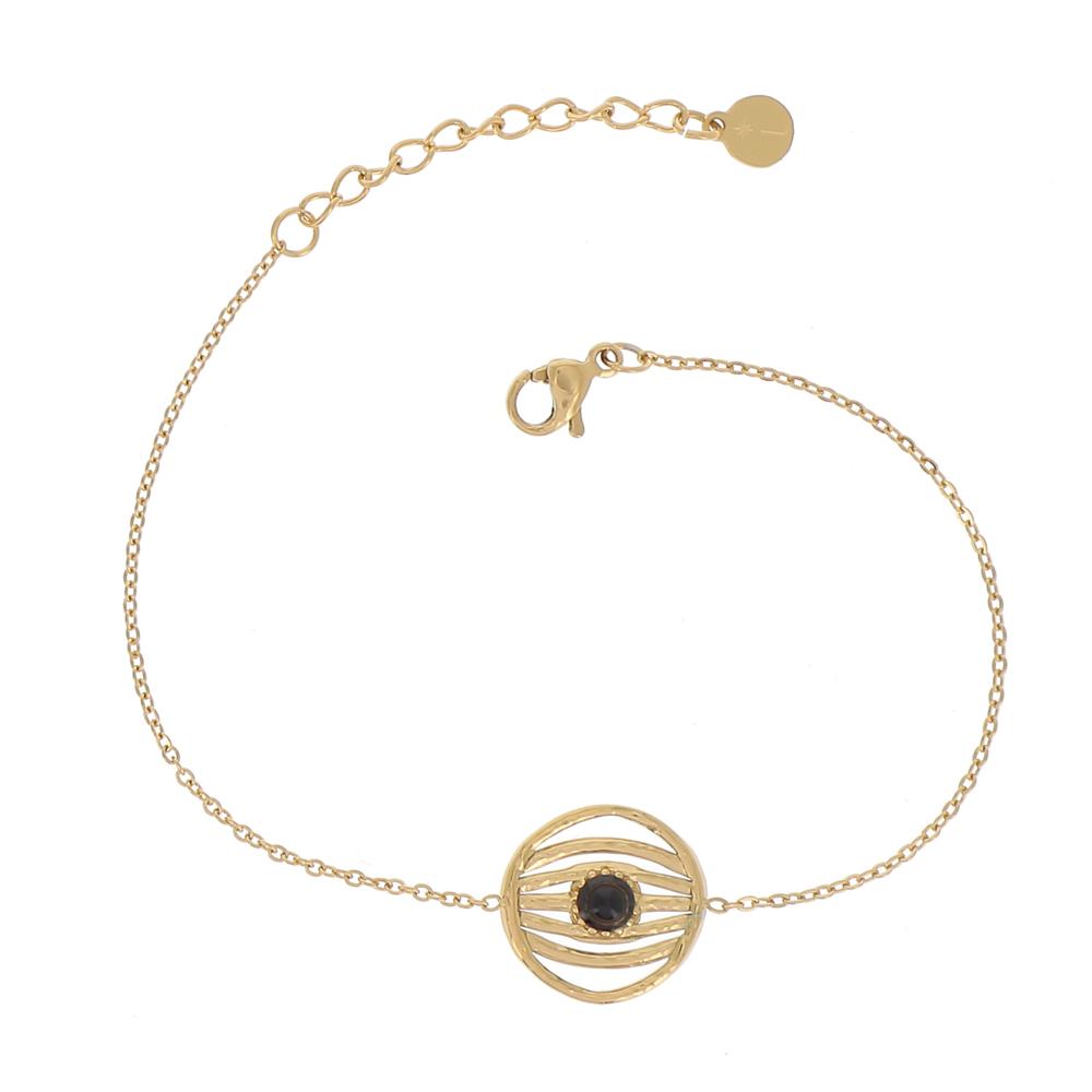 Bracelet doré avec pendentif rond et pierre naturelle noire