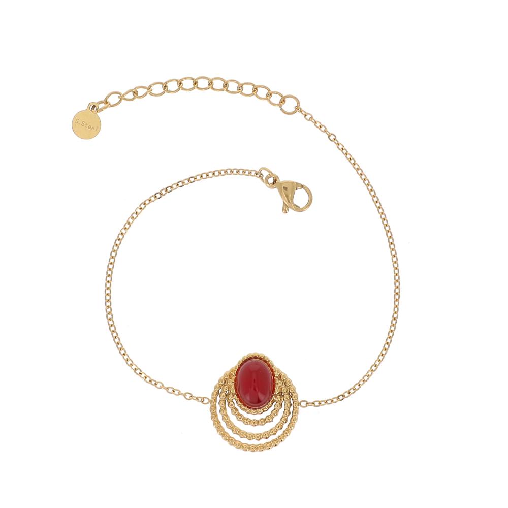 Bracelet doré avec pierre naturelle