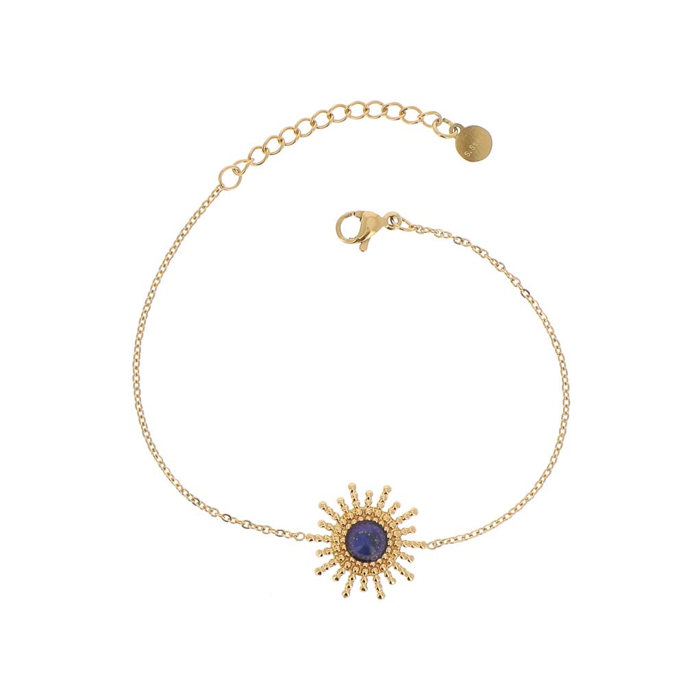 Bracelet doré soleil avec pierre naturelle