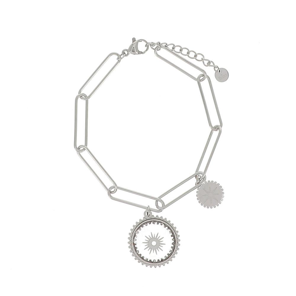 Bracelet en maille avec pendant en verre et soleil