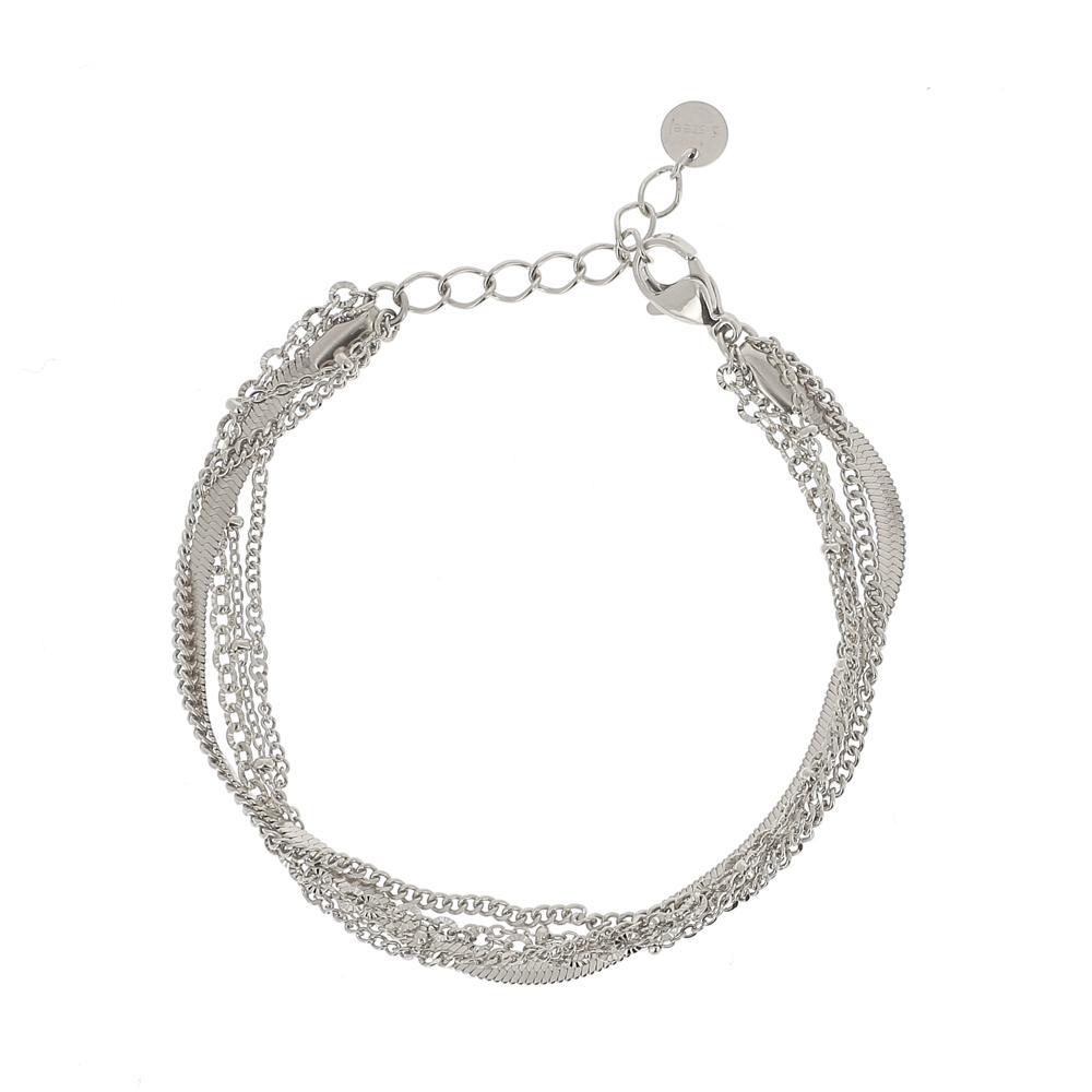 Bracelet rhodium 5 rangs avec mailles