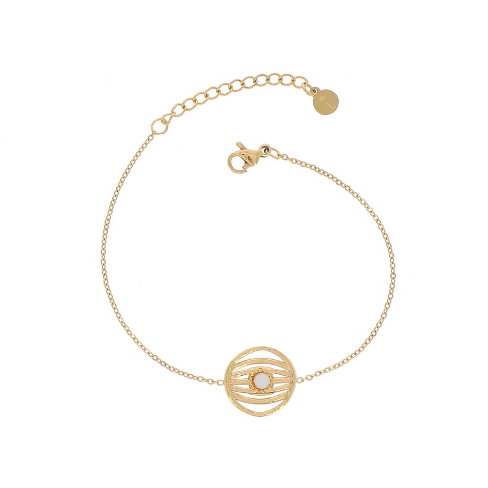 Bracelet doré avec pendentif rond et pierre naturelle