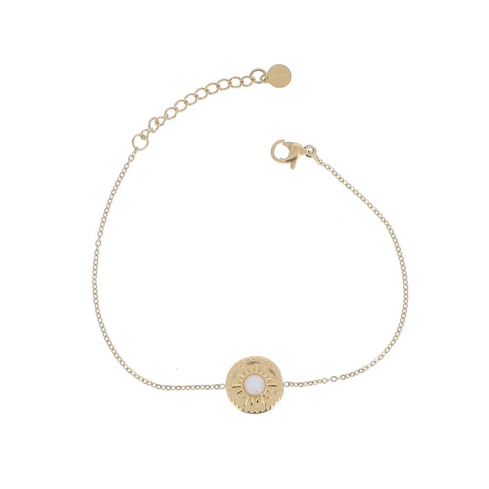Bracelet avec pierre naturelle blanche agate
