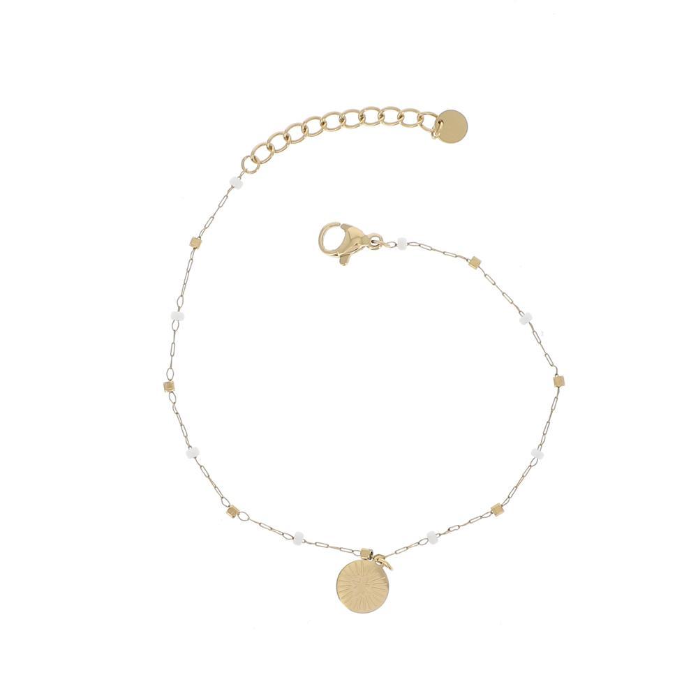 Bracelet chaîne doré rocailles et soleil gravé
