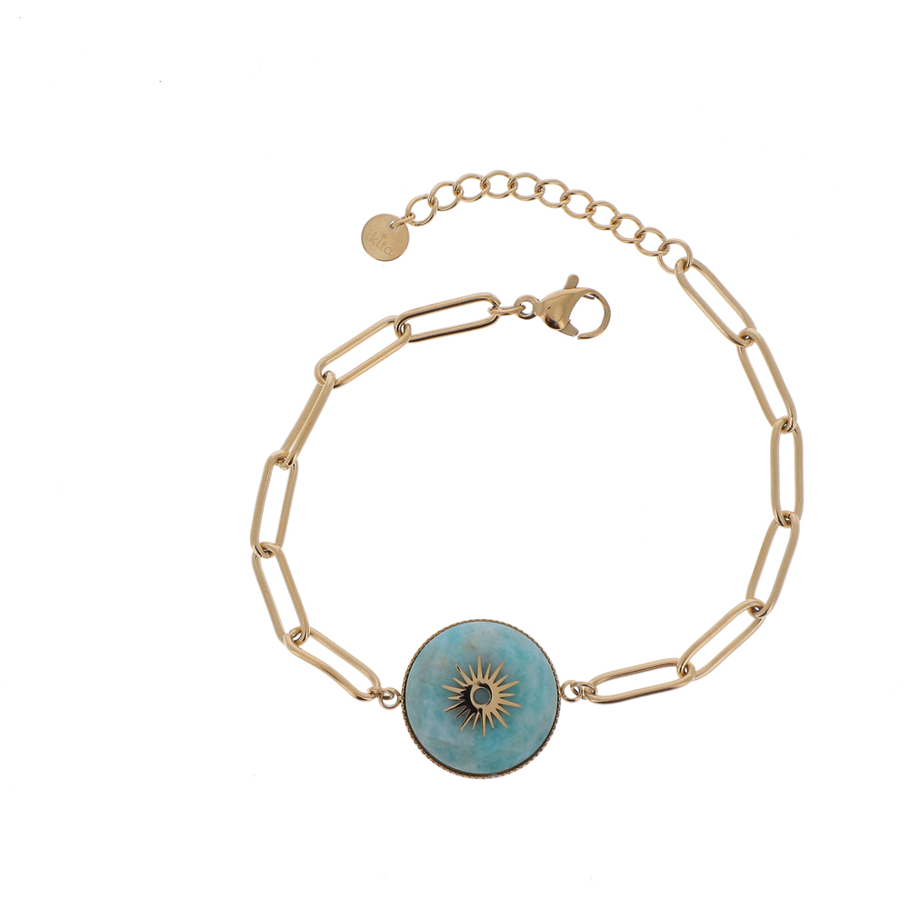 Bracelet maille rectangulaire avec pierre naturelle