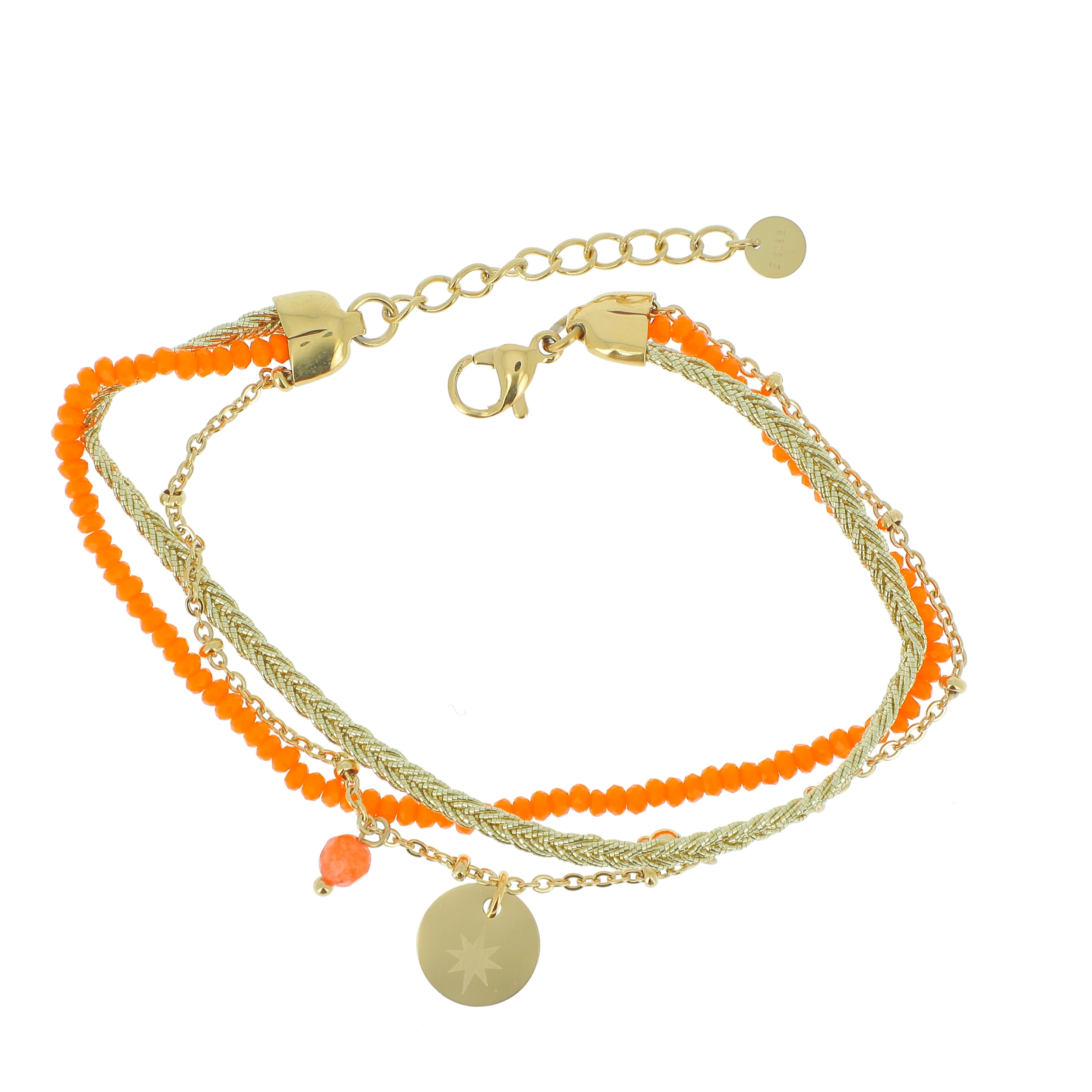 Bracelet multi rangs perles, cordon et pampille Etoile gravée