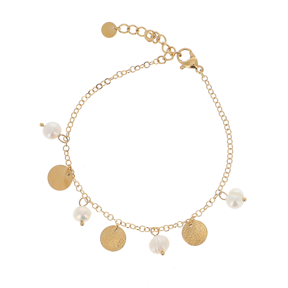 Bracelet doré avec perles d\'eau douce, pierres naturelles blanches et pampilles