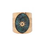 bague avec Pierre turquoise africaine étoilée