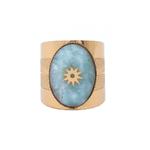 bague avec pierre amazonite étoilée