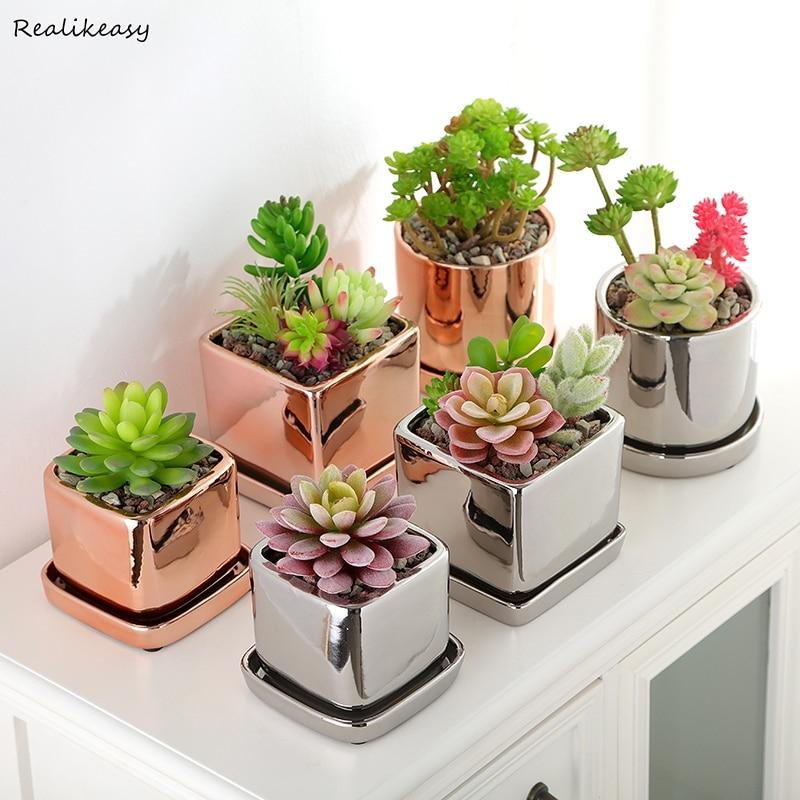 2019-Pot-de-fleur-en-c-ramique-plaqu-or-Rose-argent-avec-plateau-Succulent-Pot-de