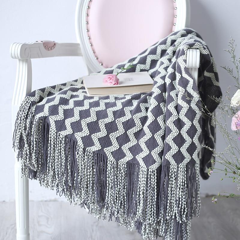 Jeté de lit à franges en tricot