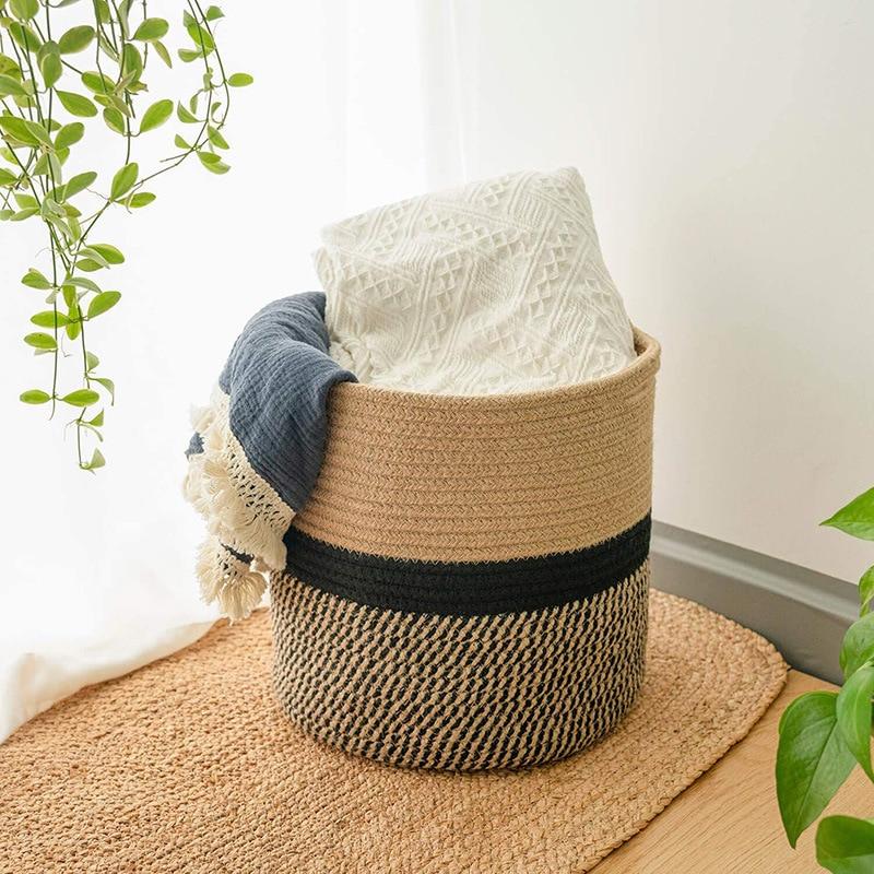 Panier droit tissé en corde de coton