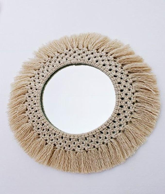 Miroir rond en macramé
