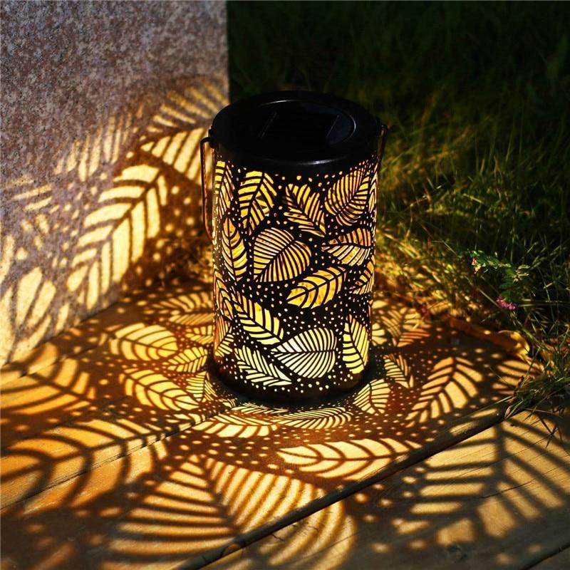 Lanterne-solaire-r-tro-motif-de-feuilles-en-m-tal-luminaire-d-ext-rieur-id-al