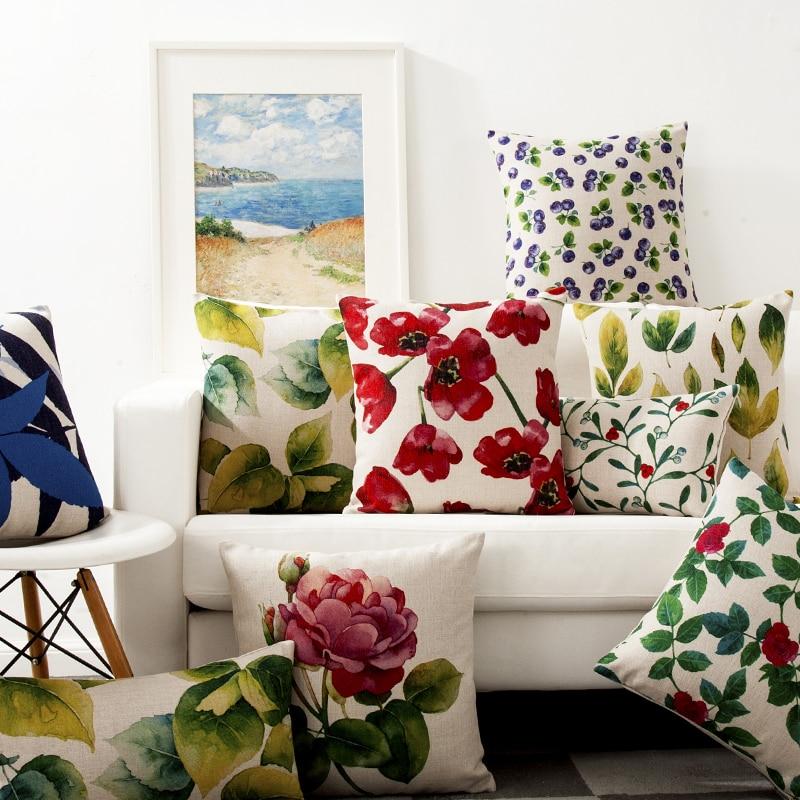 Coussin-d-coratif-Floral-Vintage-color-d-coration-de-pays-rouge-vert-bleu-oreiller-d-coratif