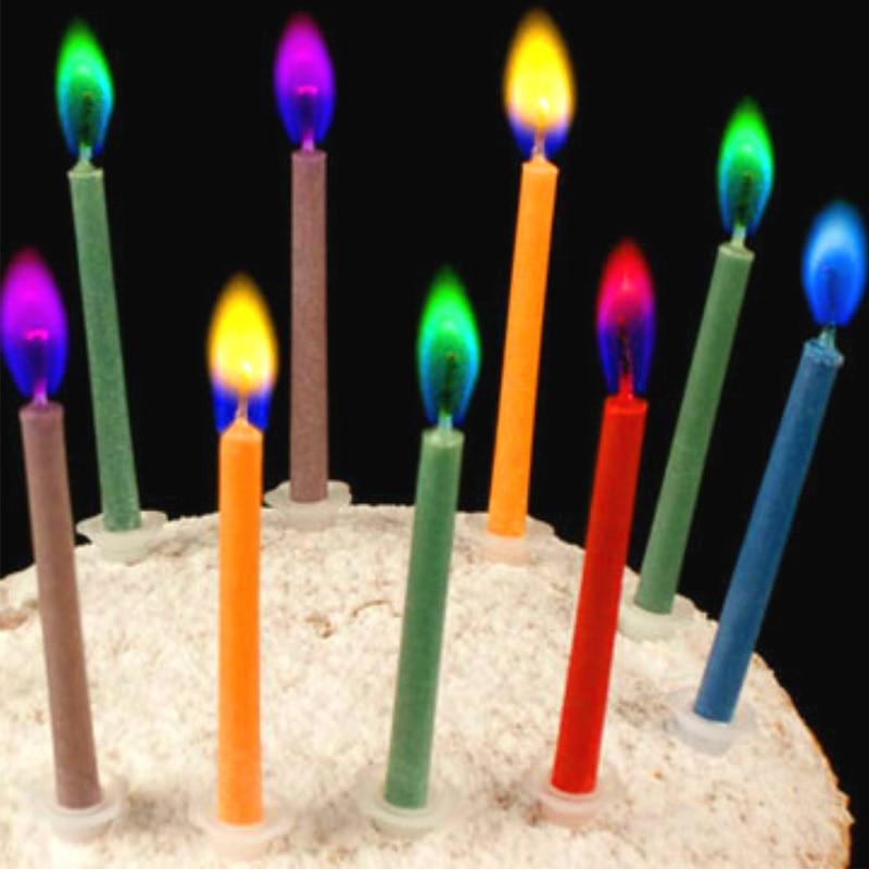 Pack de 12 Bougies anniversaire à flammes colorées