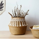 Jonc-de-mer-panier-blanc-pour-d-coration-panier-linge-panier-tiss-panier-cadeau-Vase-pompon
