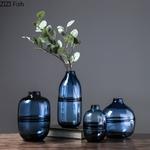 Moderne-minimaliste-verre-Vase-maison-salon-nordique-Restaurant-fleur-Arrangement-bleu-Transparent-fleur-d-coration-ornements