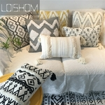 Housse-de-coussin-brod-e-en-coton-avec-pompons-jaunes-et-grises-housse-d-oreiller-pour