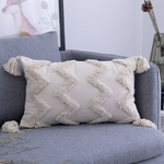 Housses-de-coussin-carr-es-faites-main-d-coratives-de-couleur-beige-avec-fermeture-clair-pour