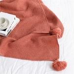 Couverture-en-tricot-gaufr-avec-boules-Plaid-d-coratif-nordique-de-couleur-unie-ch-le-de