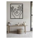 Tableau-noir-de-peinture-de-visage-de-femme-autocollant-mural-de-planche-de-bois-d-coup