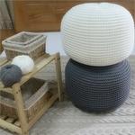 POUF-rond-en-laine-tricot