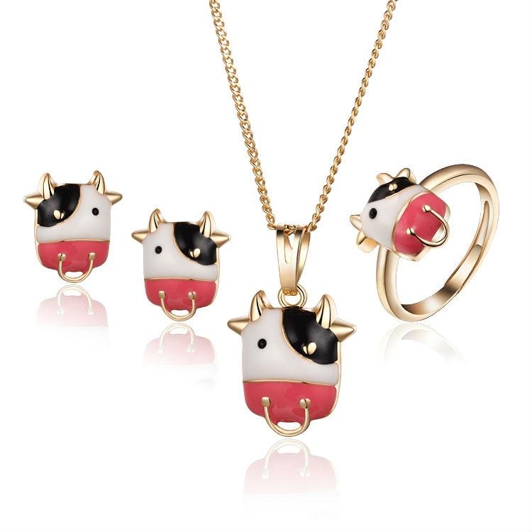 Ensemble de bijoux vache rigolote enfant