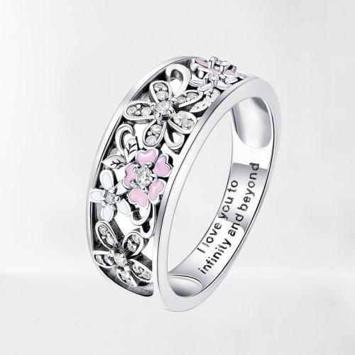 Bague anneau amour et fleurs