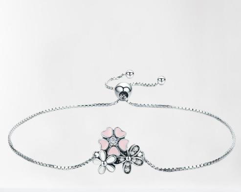 Bracelet bouquet de fleurs coulissant argent
