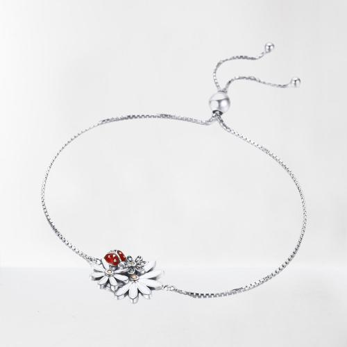 Bracelet coccinelle et fleurs argent